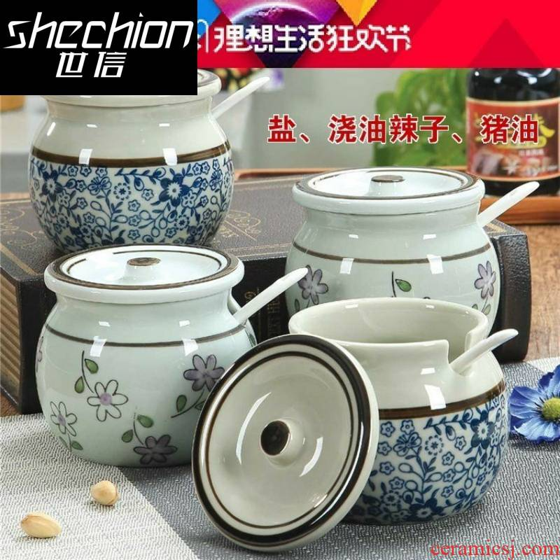 Ceramic large treasure bowl as the oil can hold to high temperature, hot pepper oil jar with cover spoon sauce bottles.