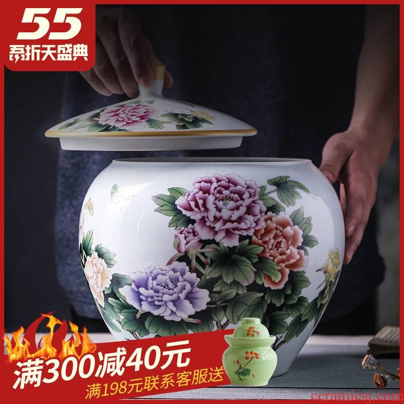 Jingdezhen ceramic barrel with cover home 20 jins 30 pack storage tank tea cake cylinder cylinder tank sealing ricer box