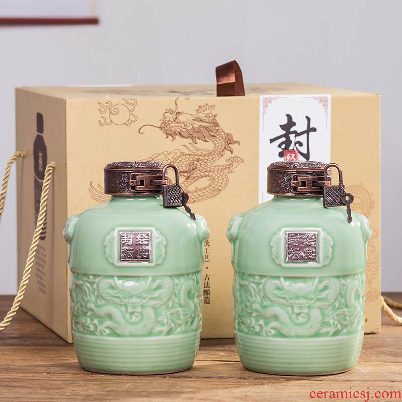 Jingdezhen 1 catty three catties 5 jins of ceramic bottle seal pot green glaze bottle wine pot liquor wine bottle is empty jars