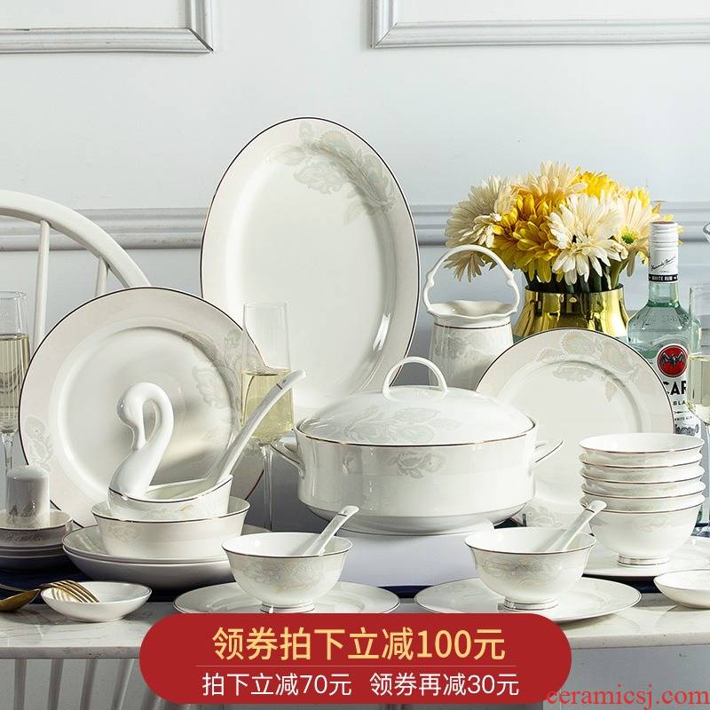 Orange leaf ipads porcelain tableware dishes suit Chinese style household European - style jingdezhen ceramics dishes chopsticks combination