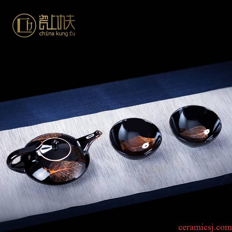 Konoha temmoku lamp that kung fu tea set manually cup bowl of archaize single CPU jingdezhen ceramic sample tea cup host