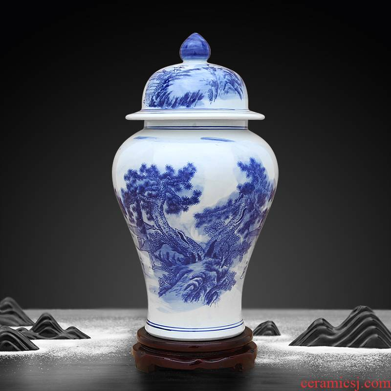 Jingdezhen ceramics general blue and white porcelain jar of blue and white landscape pattern adornment that occupy the home furnishing articles storage tank in the living room