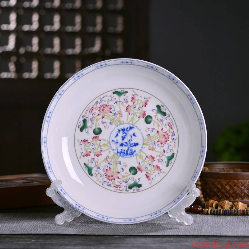 Jingdezhen ceramics deep dish dish of Chinese style household ipads porcelain plate single plate style of rice soup home plate