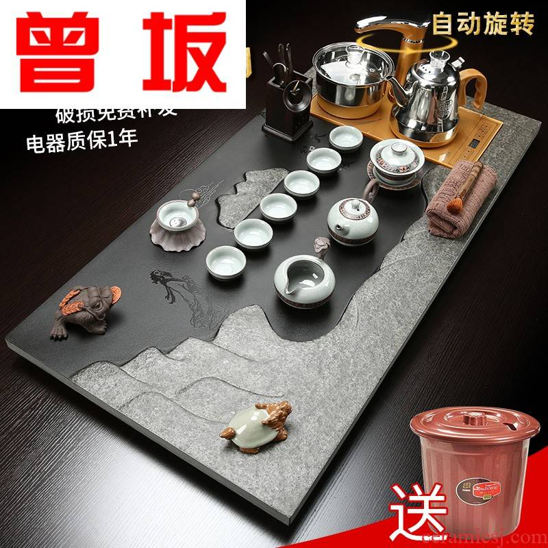Once sitting sharply stone of a complete set of tea set automatic violet arenaceous kung fu tea tea set household contracted tea tray was big number