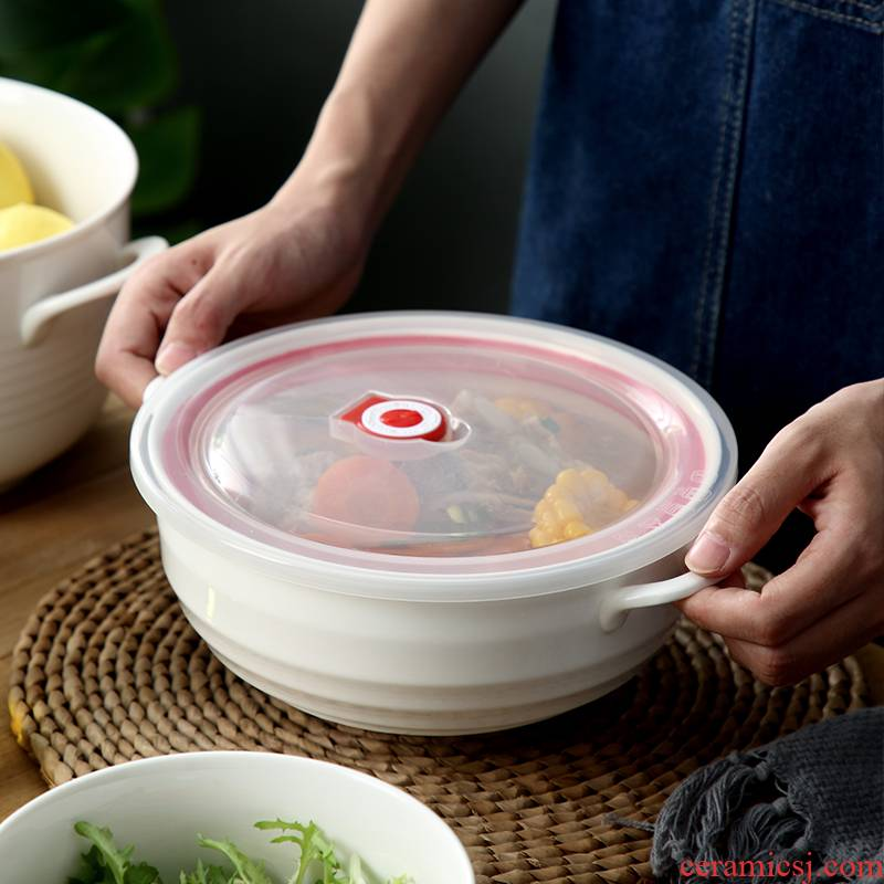 Contracted ceramic large soup bowl with cover preservation bowl ears seal special microwave ceramic bowl bag in the mail