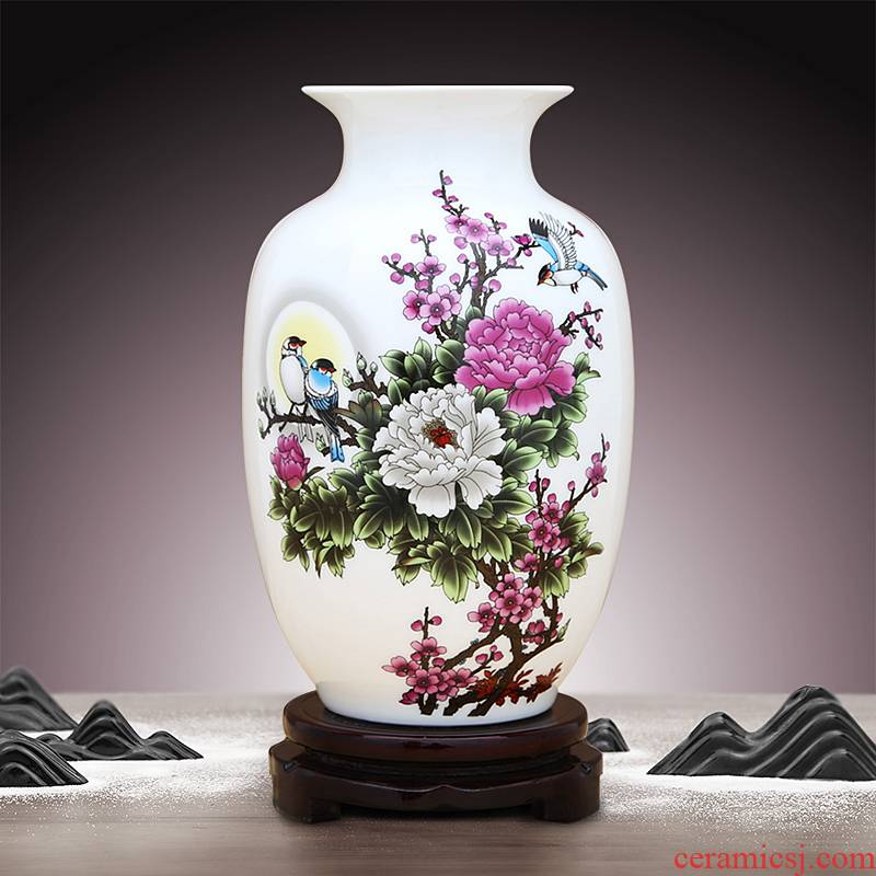 Jingdezhen ceramics white trumpet vase water raise flower arranging furnishing articles household act the role ofing is tasted rich ancient frame sitting room office