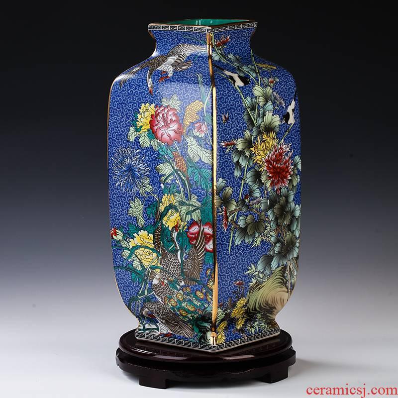 Jingdezhen ceramics see colour enamel pastel archaize square vase TV ark, porch place decoration