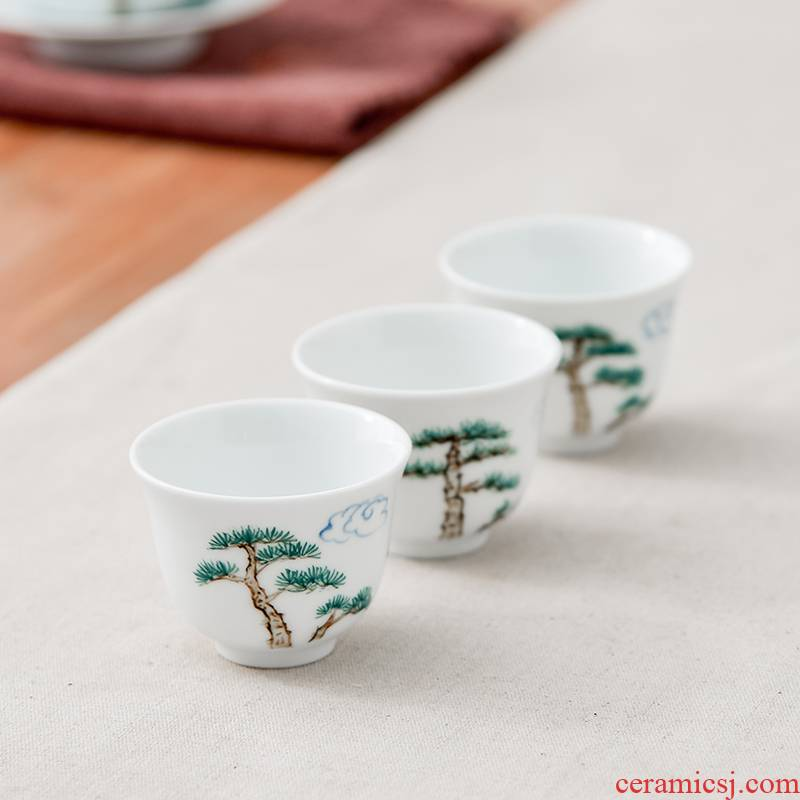 Qiu time household ceramics hand - made kung fu masters cup sample tea cup white porcelain cups contracted a single individual cups cup
