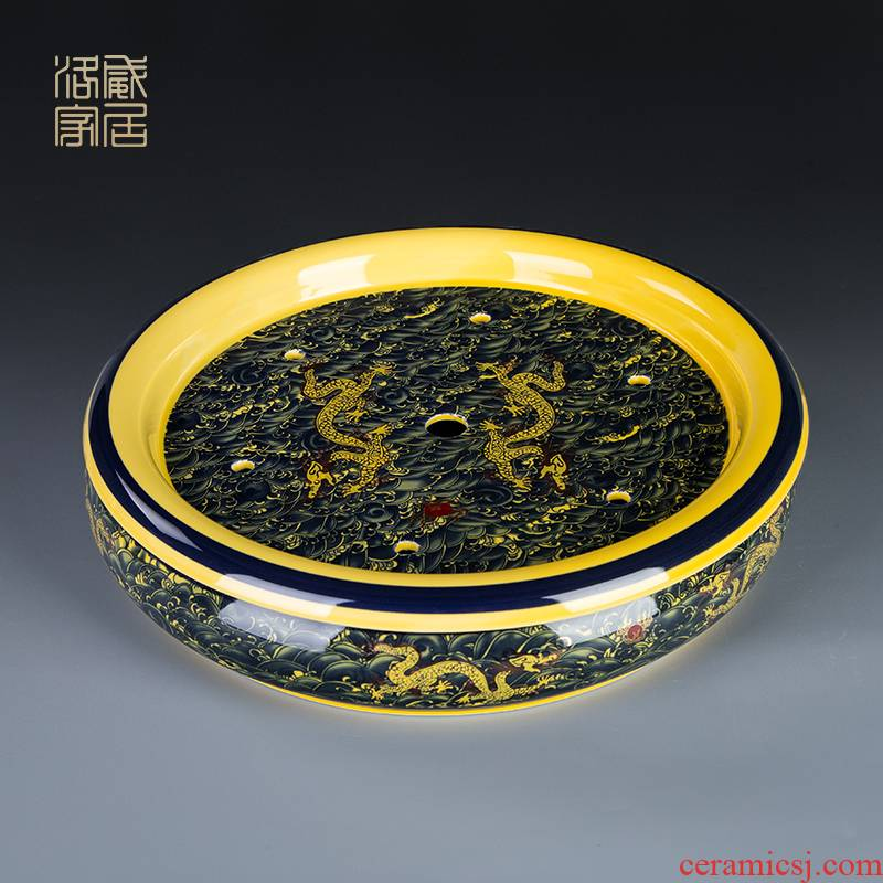 , ceramic household ground round large double dragon saucer dish of jingdezhen porcelain tea set accessories single plate