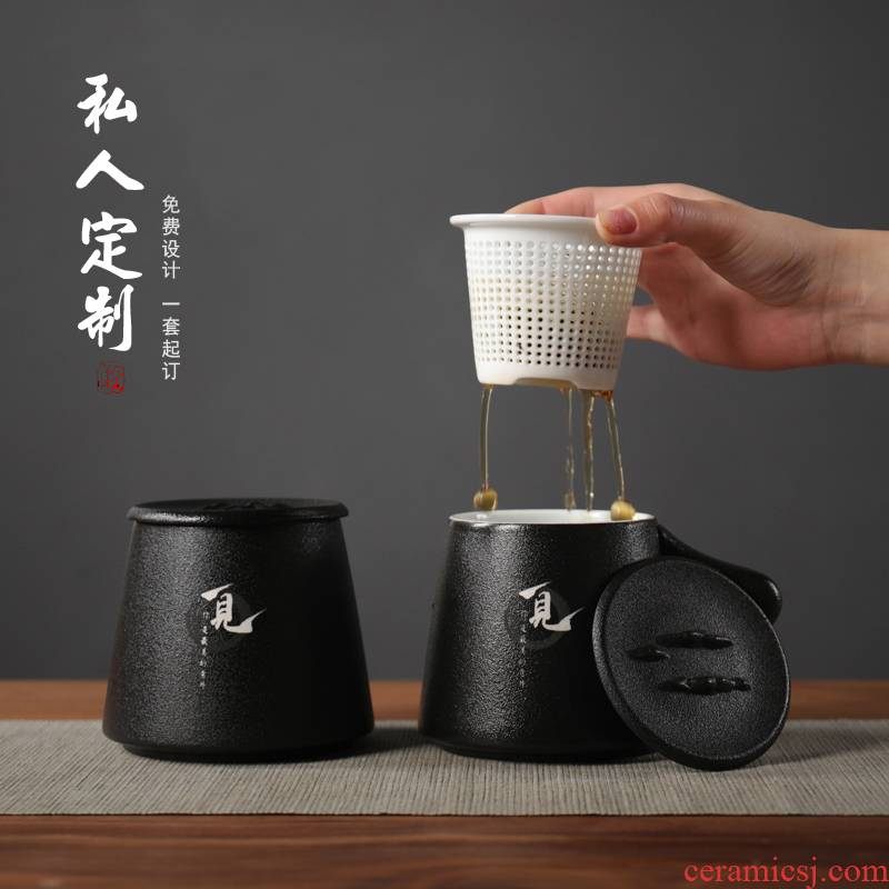 Ceramic filter with cover cup office cup tea cup home office cup gift receives suit custom