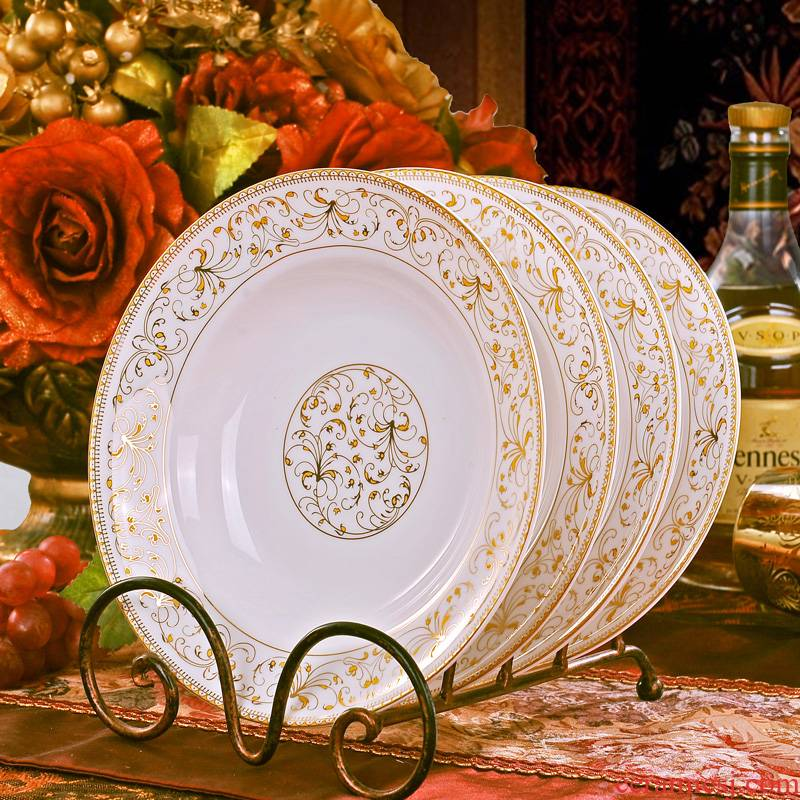 Jingdezhen ceramic circular loading new household deep dish dish dish soup plate creative Europe type microwave special dishes