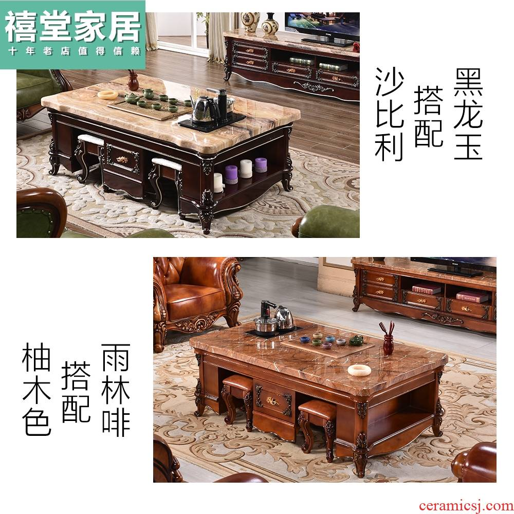 European marble kung fu tea table multifunctional solid wood tea table and chair TV ark combination contracted sitting room office