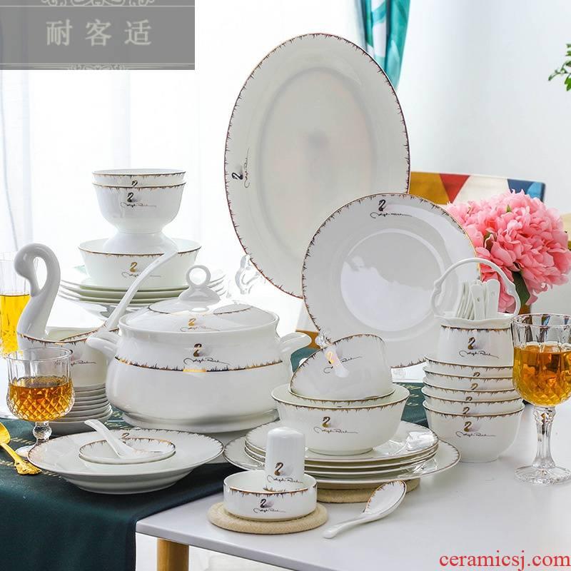 Hold to guest comfortable jingdezhen ceramic tableware swan ipads porcelain bowl dish gift set LOGO custom ceramic meal