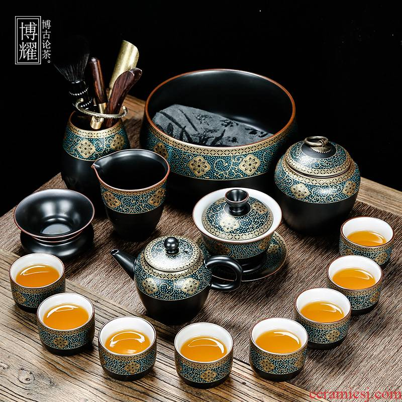 Bo yiu-chee gold kung fu tea set of household ceramic tea lid bowl of tea cups to wash the whole red glaze