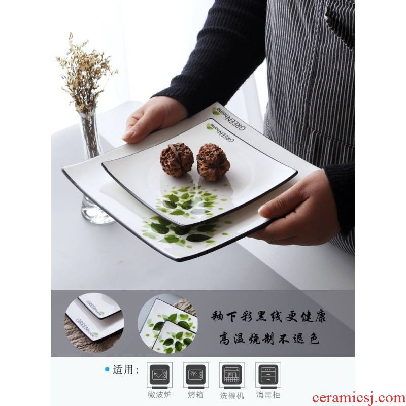 Plate of northern wind beefsteak creative ceramic disc household contracted black line square Plate snack Plate breakfast tray.