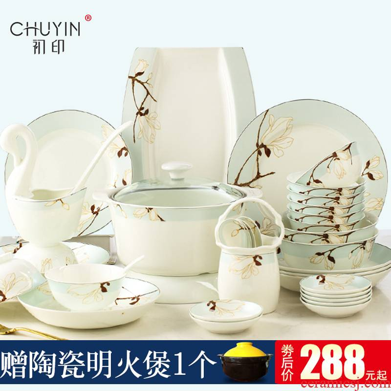 Dishes suit household European contracted light excessive ipads porcelain tableware suit of jingdezhen ceramic Dishes housewarming gift