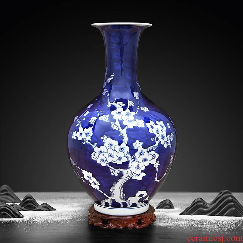 Jingdezhen ceramic hand - made blue ice name plum bottle handicraft furnishing articles sitting room porch hotel club house decoration