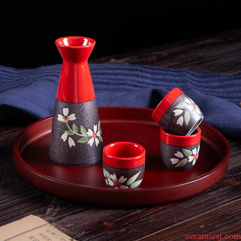 Japanese - style wine suit jingdezhen wine wine drinking rice wine liquor suit the cherry blossom put gift boxes of gifts
