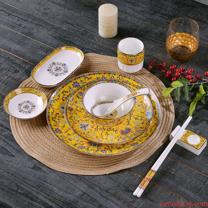Jingdezhen ceramics bowl plates spoon tableware combination sets of high - grade hotel health club table tableware custom