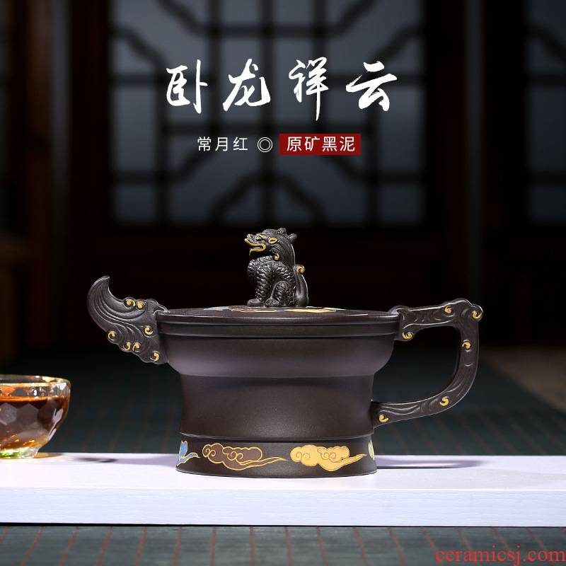 Xu ink wolong xiangyun it, the month red all hand made clay teapot tea undressed ore, black clay pot pot of collection