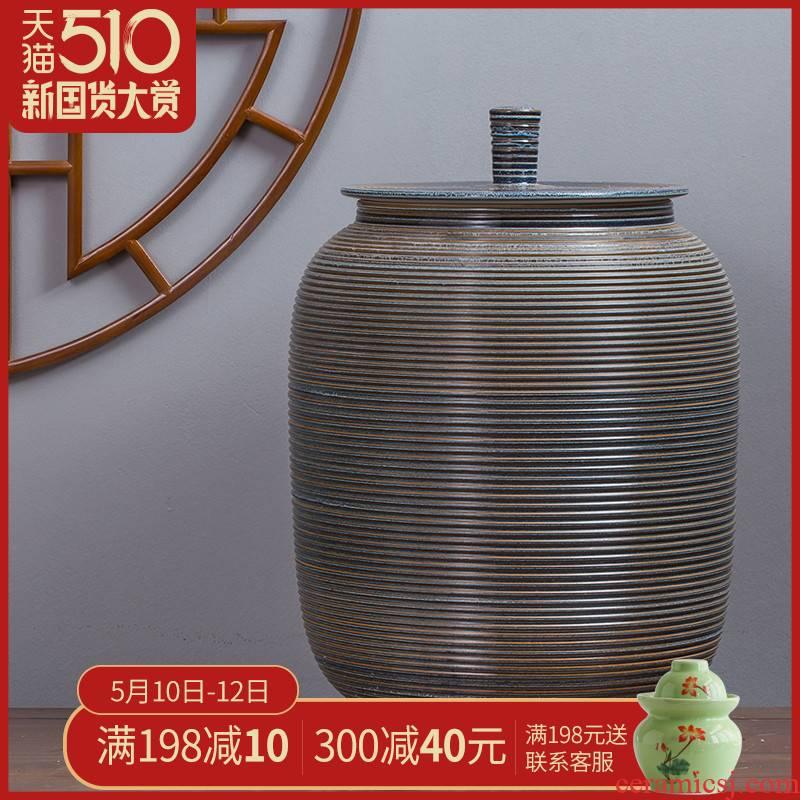 Ceramic barrel ricer 30 kg to 15 kg box with cover art tank barrel can save m barrels of jingdezhen tea urn