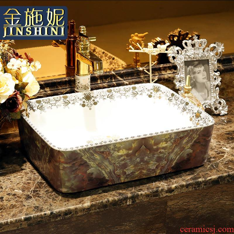 Gold cellnique jingdezhen ceramic lavatory bath art basin of Chinese style antique table face basin rectangular stone, jade