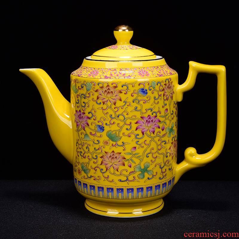 Jingdezhen porcelain extra - large ceramic teapot large - capacity cold large colored enamel kettle kung fu tea teapot