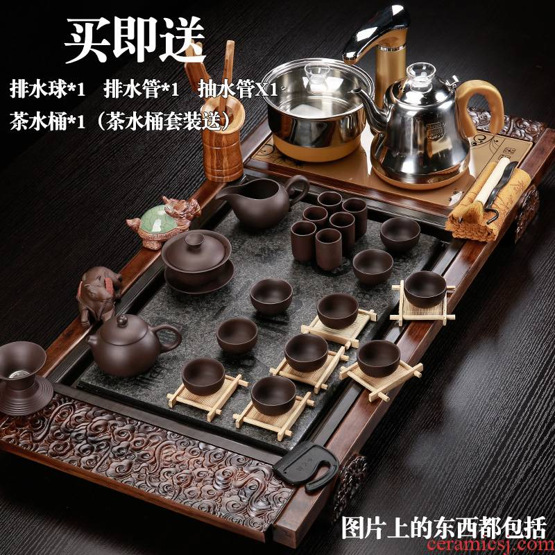 Back at home office ceramic tea set violet arenaceous kung fu tea machine fully automatic four unity magnetic electric heating furnace