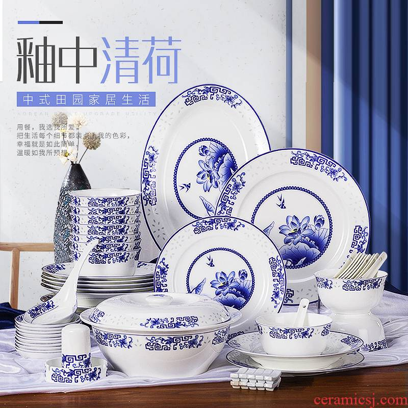The dishes suit Chinese style household jingdezhen porcelain and ipads porcelain tableware suit to use combined creative dishes