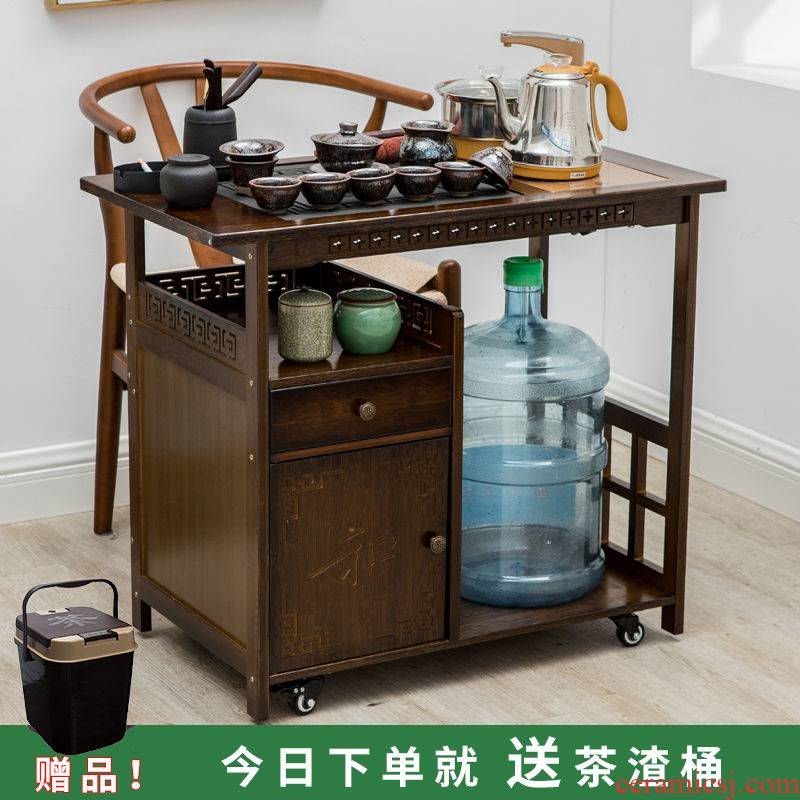 Tea tray mobile Tea Tea kettle body small household balcony make Tea Tea table solid wood Tea car kung fu Tea table
