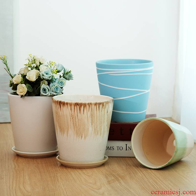 Of meat in the Nordic contracted household desktop large ceramic flower POTS, green potted tiger orchid basin special offer a clearance