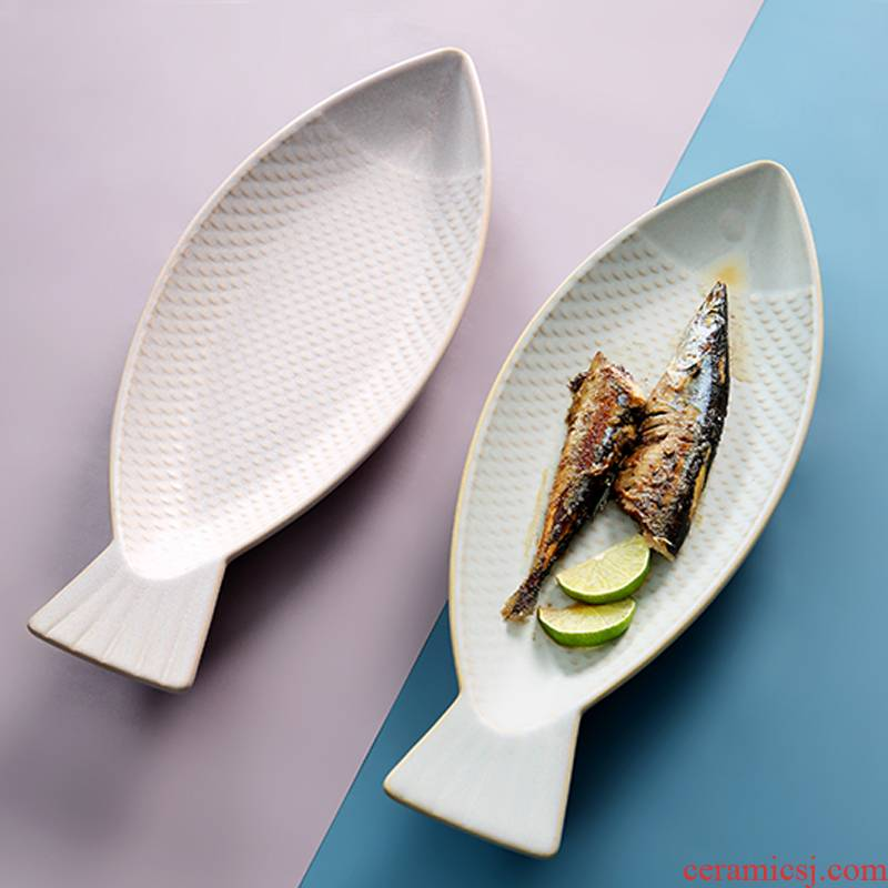 Creative Nordic ceramic household new large fish dishes web celebrity tableware special move steamed fish fish dishes