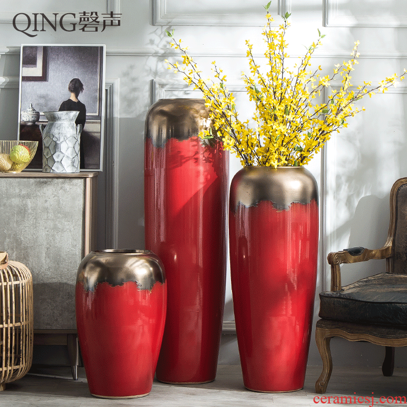 Jingdezhen ceramic big vase decoration to the hotel villa furnishing articles sitting room be born heavy large red flower implement porch