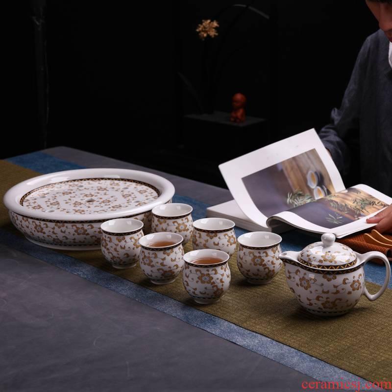 Make tea tea sets jingdezhen ceramic household teapot teacup office high - grade white mix of a complete set of 8 times