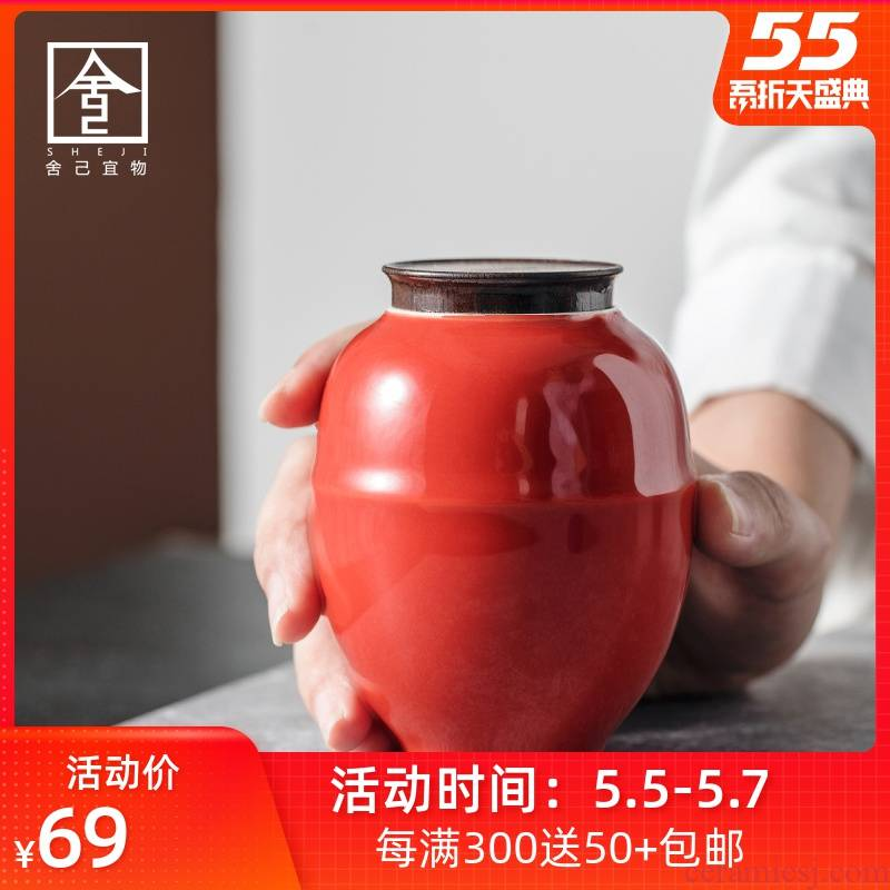 "Red Chinese jingdezhen caddy fixings self - ""appropriate for the content of the Forbidden City, small ceramic POTS sealed storage POTS small jar jar"