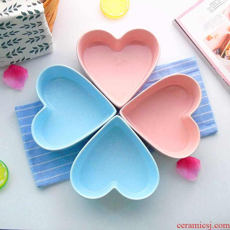 Jingdezhen ceramic candy color series heart - shaped bowl love baked baking salad bowl dessert thick soup bowl bowl of petals