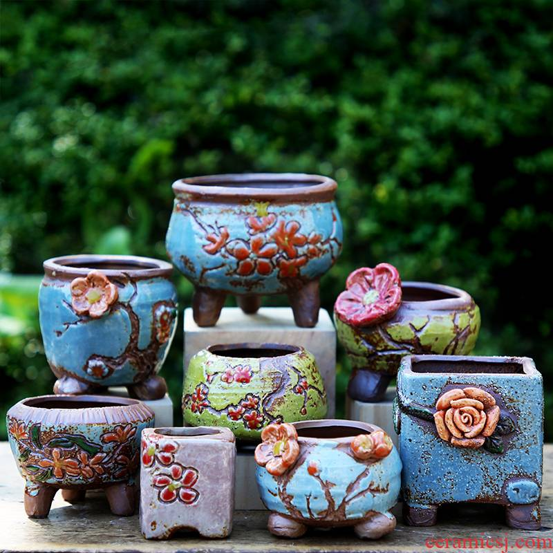 Fleshy flower - pot Korean hand - made manual ceramic its breathable knead the old running the size retro move green plant POTS