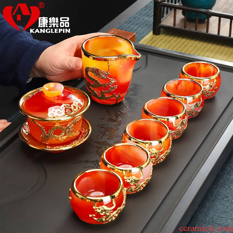More recreational product an inset jades 24 k gold agate jade porcelain teacup glass kung fu tea tureen of a complete set of justice