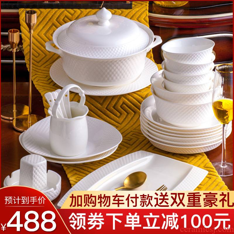 Tende dishes suit household pure white ipads porcelain of jingdezhen ceramic tableware under the glaze color contracted Europe type bowl dish