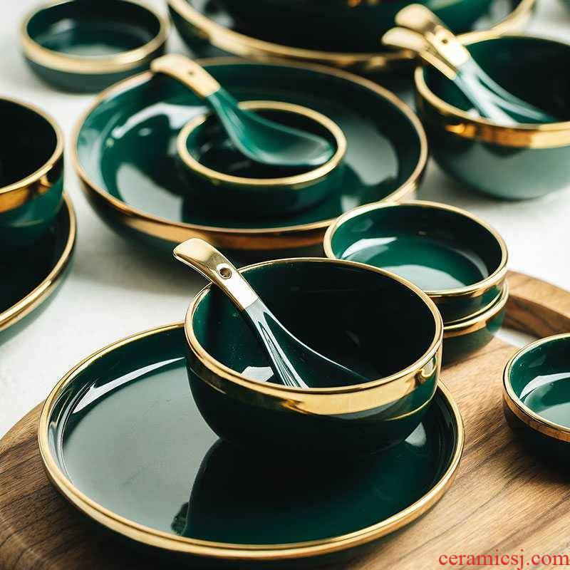 Light key-2 luxury emerald up phnom penh dish suits for 2 web celebrity ceramic dishes dishes to eat bowl western - style food tableware