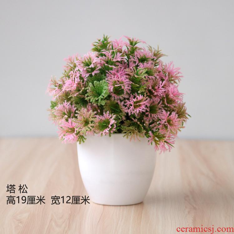 Household false herbal tea table decoration simulation furnishing articles plastic dried flowers and green, the plants small potted flower sitting room adornment