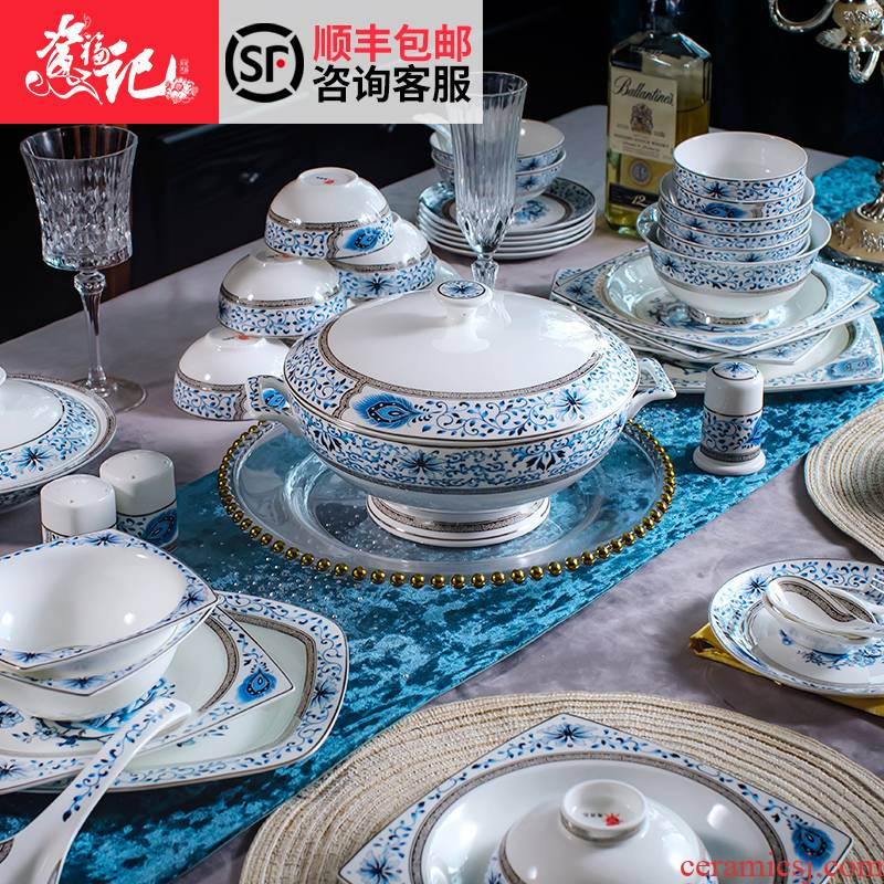 Jingdezhen ceramic tableware suit 70 head of household of Chinese style dishes suit special dishes the table set gift box