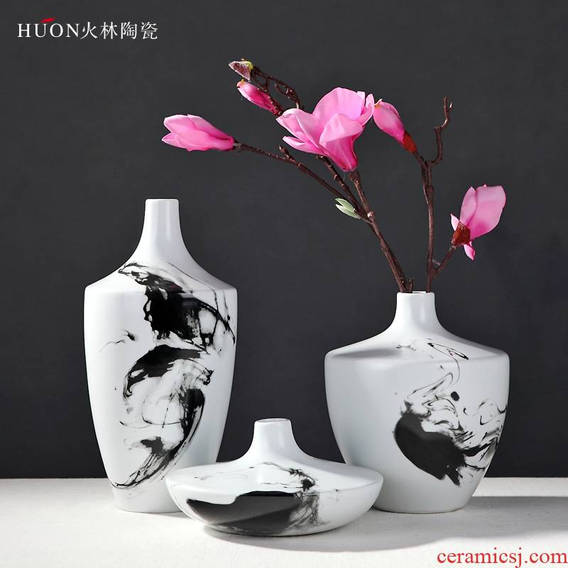 The modern new Chinese style Chinese wind hand - made ink painting ceramic vase household act The role ofing is tasted furnishing articles of jingdezhen ceramic vase