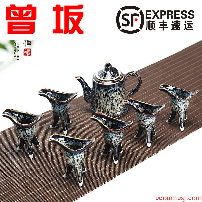Once the kobe built lamp that we become tea red glaze, suit household of Chinese style antique glass decanters small wine liquor