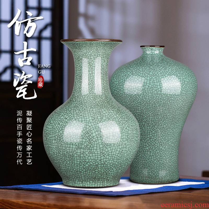 Jingdezhen ceramics archaize crack blue glaze on large vases, Chinese style restoring ancient ways home sitting room adornment is placed