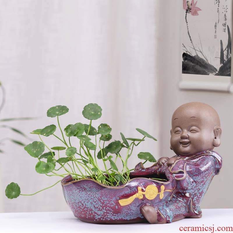 Other grass cooper hydroponic flower pot ceramic large clearance water raise bowl lotus pond lily individuality creative floral outraged without holes