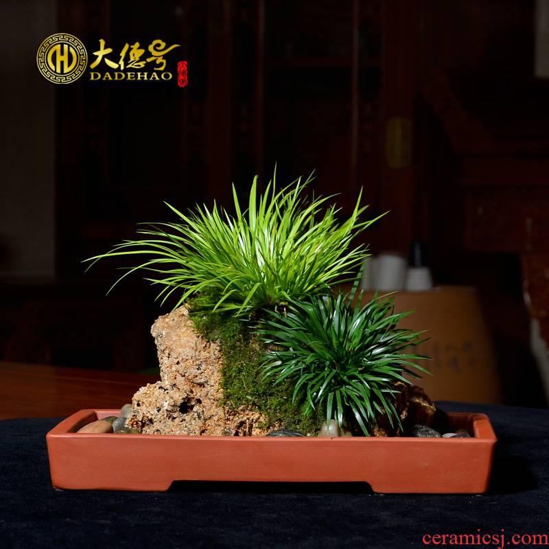 A Rectangle ceramic purple sand flowerpot large water rockery the plants bonsai pot basin breathable hydroponic flower pot pot