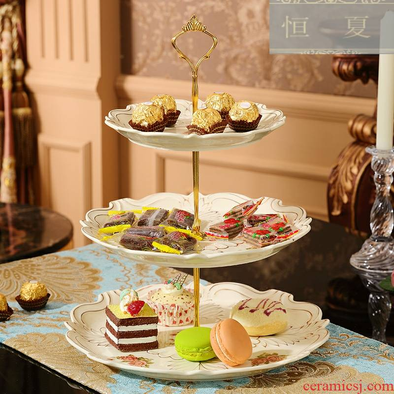 European style afternoon tea sweet snack plate three layer cake plate British ceramic double dried fruit cake plate