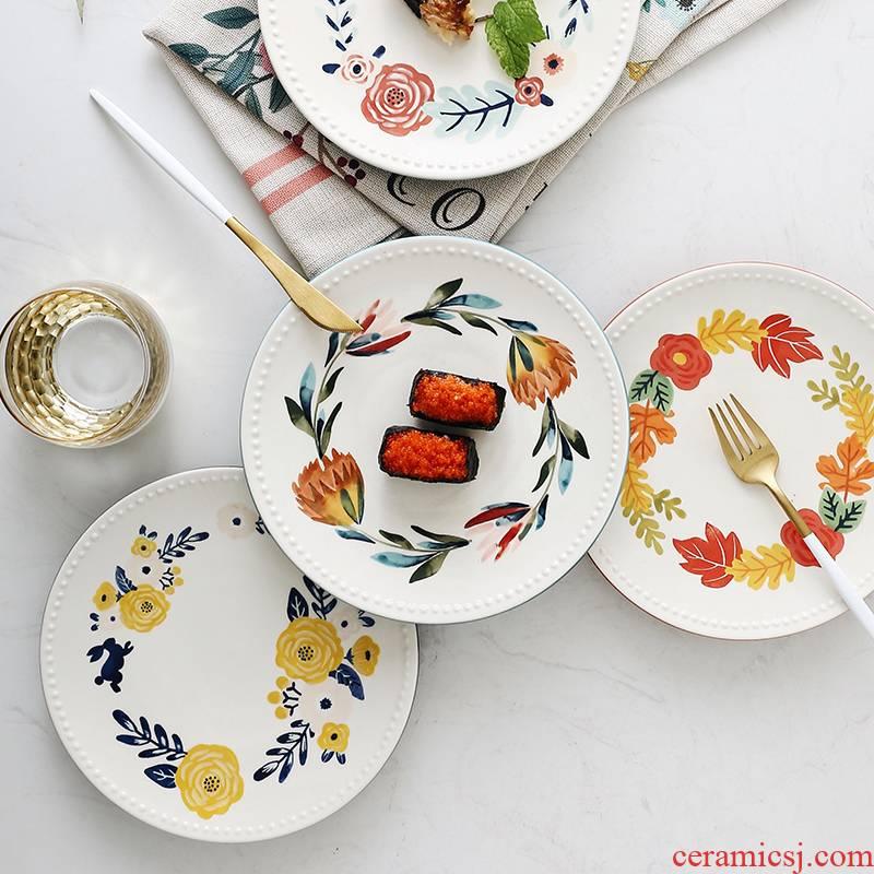 Creative European - style seasons bead edge plate of household ceramics pastry snack plate single I sitting room dessert plate