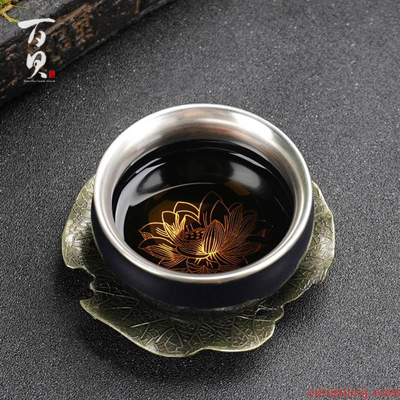 Ceramic cup 999 sterling silver cups household masters cup tasted silver gilding kung fu tea pure manual paint gift mugs